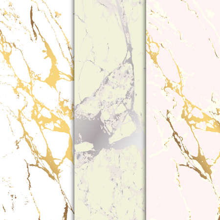 Marble stone textured. Vector marble background with golden lines decoration. Set of marble paterns.
