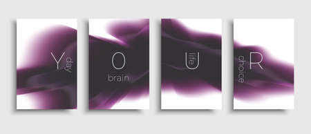 Set of brochure with liquid shapes composition. Vector modern design brochure. Flow abstract design. Purple template.