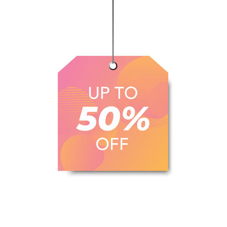 Vector trendy template with sale tag. Color gradient sale signboard. Shopping abstract background. Modern design of discount label.