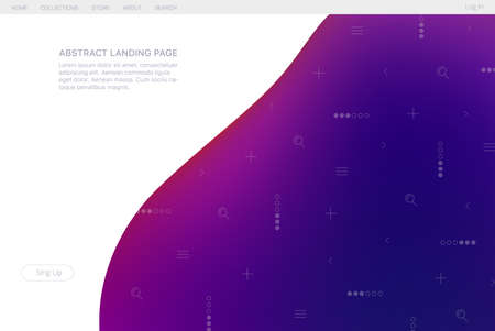 Abstract gradient landing page for user interface design. Futuristic dynamical background.