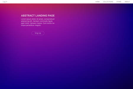 Abstract gradient landing page. Ultraviolet futuristic backdrop. Front design.