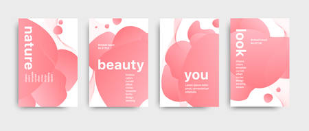 Set of colored brochure with big inscription. Modern design brochure. Beautiful light pink color palette. Liquid abstract design. Vector fashion brochure.