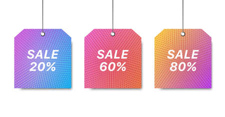 Vector trendy template with sale tag. Colorful sale signboard. Shopping background. Modern design of discount template. Set sale signboards. Illustration