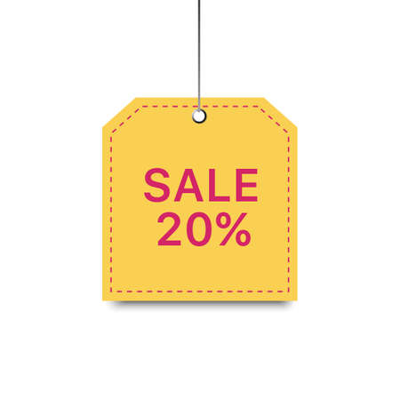 Yellow trendy template with sale percent tag. Shopping flat background. Modern design of discount label.
