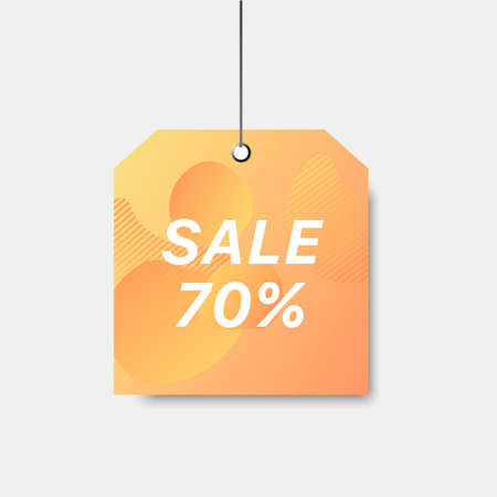 Vector trendy template with sale 70 pro cent tag. Colorful sale signboard. Shopping abstract background. Modern design of discount label.