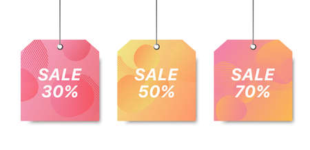 Vector sale template. Colorful sale signboard. Shopping background. Trendy colorful label. Modern design of discount template. Set sale signboards.