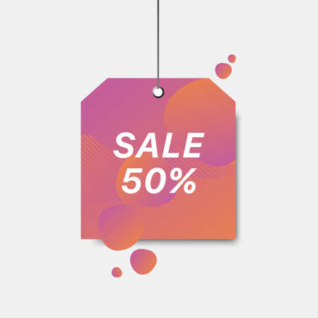 Vector square sign with sale 50  tag. Color gradient sale signboard. Shopping abstract background. Modern design of discount label.