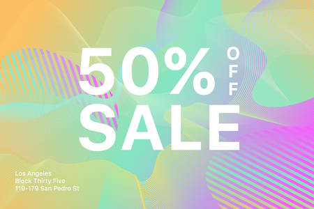 Vector trendy multicolored template with sale 50 tag. Color gradient sale signboard. Shopping abstract background. Modern design of discount label.