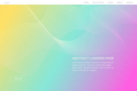 Landing page design. Abstract blurred gradient mesh background in bright rainbow colors. Colorful template Fluid distorted grid. Futuristic dynamical background. Illustration