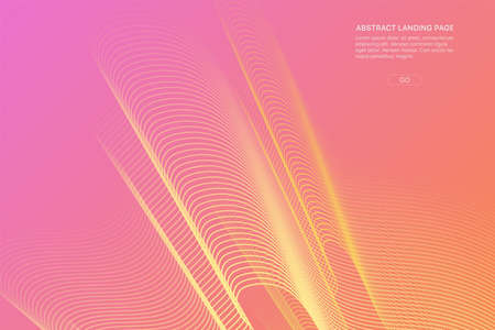Abstract pink gradient landing page. Fluid distorted grid. Futuristic dynamical background.