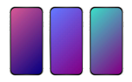 Isolated cell phone. Vector mobile phone. Colorful gradient template. User interface design. Gradient phone mockup.