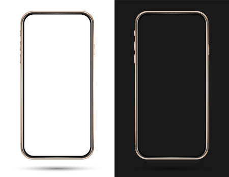 Isolated empty cell phone mockup. Golden phone on the dark background. Golden phone on the white background