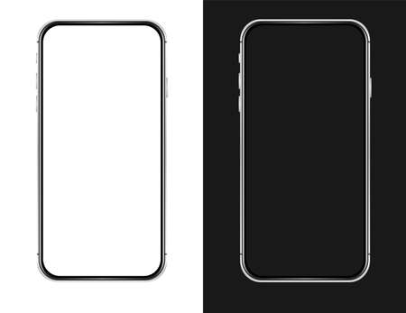 Isolated empty cell phone mockup. Silver phone on the dark background. Silver phone on the white background.