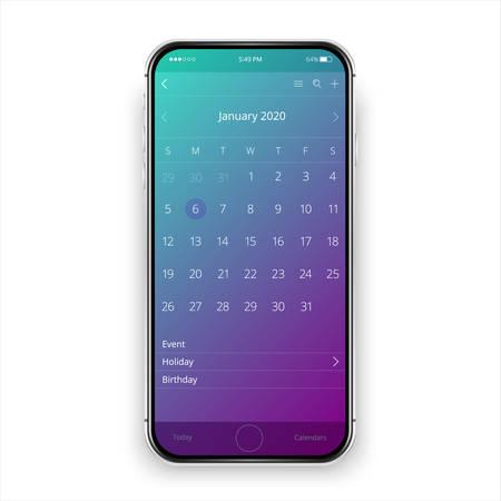 User interface design. Mobile calendar app. Phone app calendar 2020 year. Isolated cellphone.