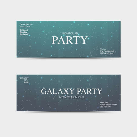 New Year party flyer. Vector neon night club banner. Modern designed template for party. Vector fashion brochure.