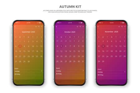 Smartphone, mobile phone isolated, realistic vector cell phone. Silver smartphone. Mobile application. Calendar 2020. Illustration