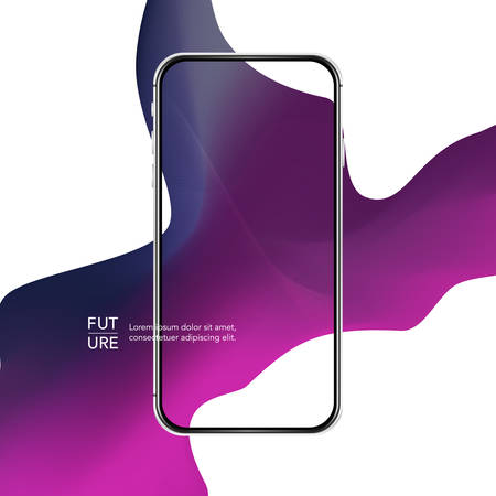 Silver phone case. Curve line abstract background. Purple fashion mobile template. Illusztráció
