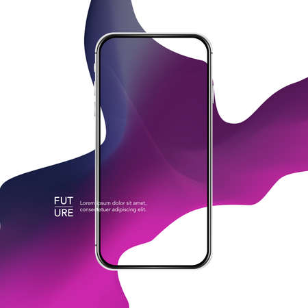 Silver phone case. Curve line abstract background. Purple fashion mobile template.