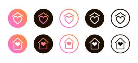 Social media set self-isolation icons stay home. Illustration