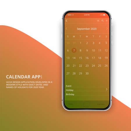 User interface design. Mobile calendar app.