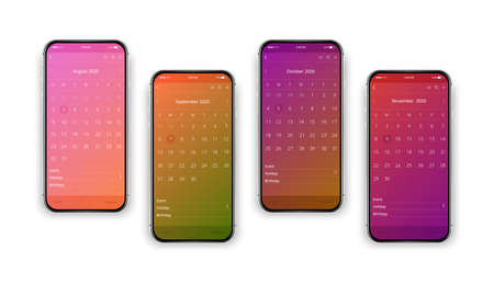 Isolated, realistic, colorful, set of cell phones.