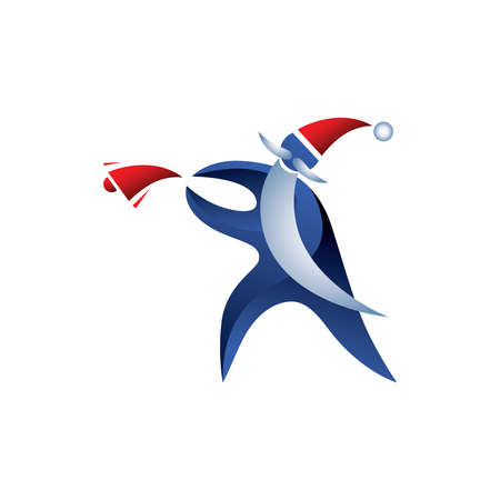 Stylish sports Santa Claus throwing red bell. Vector Illustration. Blue Santa Clause with long White Beard Isolated on White Background. Great Icon for Greeting Cards. Christmas 3D Sign.