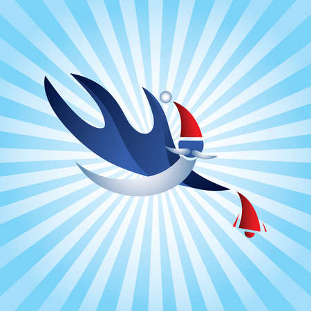 Stylish sports Santa Claus Flying with red bell. Vector Illustration. Blue Santa Clause with long White Beard Isolated on Blue Abstract Background. Great Icon for Greeting Cards. Christmas 3D Sign.