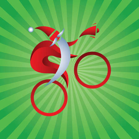 Stylish sports Santa Claus rides a bicycle with a bell. Christmas 3D Sign. Abstract. Vector Illustration. Blue Santa Clause with long White Beard Isolated on Abstract Green Background. Great Icon for Greeting Cards.