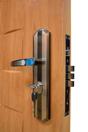 slot met sleuteltje: Geïsoleerde deur met slot en sleutel  Stockfoto
