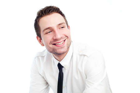 Portrait of happy businessman isolated on white photo