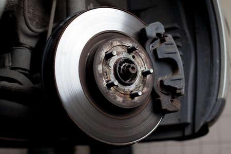 Closeup of brake disc mounted on car photo