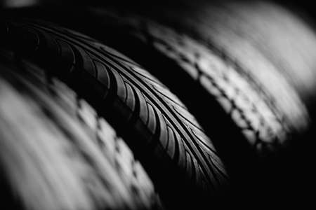 Tire stack background. Selective focus. Stock Photo