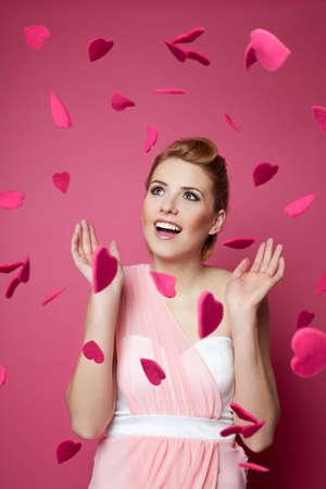 valentine day: Woman fallein in love. Valentines day concept. Stock Photo