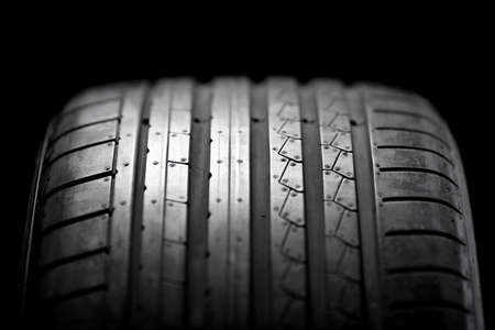 summer tire: Sport summer tire isolated on black background