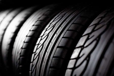 automobile tire: Tire stack background.  Selective focus.