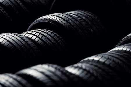 Tire stack background.  Selective focus. Reklamní fotografie - 53948050