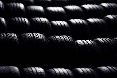 selective focus: Tire stack background.  Selective focus.