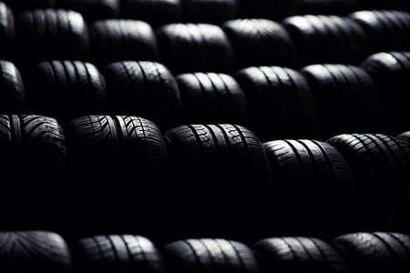 Tire stack background.  Selective focus. Reklamní fotografie - 53952041