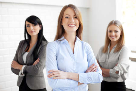 work group: Team of happy businesswomen