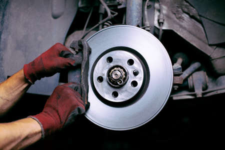 Changing brake pads Banque d'images