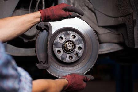 reparación de frenos para coches Foto de archivo