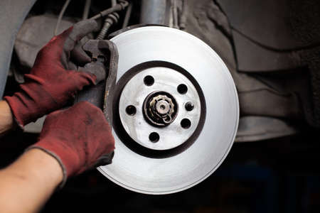 Changing brake pads Stockfoto