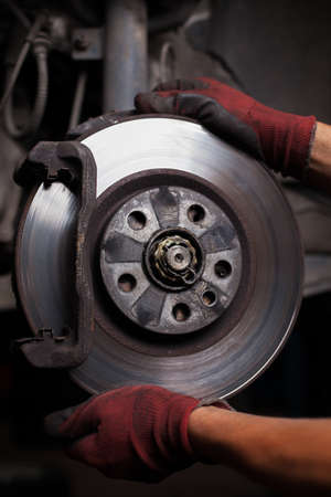 frenos: reparaci�n de frenos para coches Foto de archivo