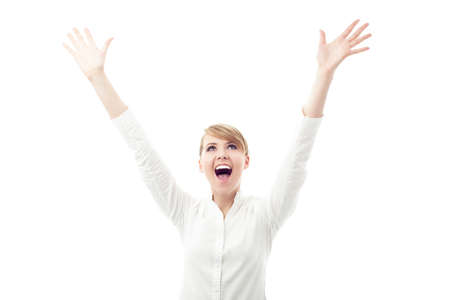 woman hands up: Successful female student with arms outstretched Stock Photo