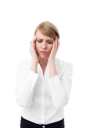 head ache: Business woman holding head with head ache