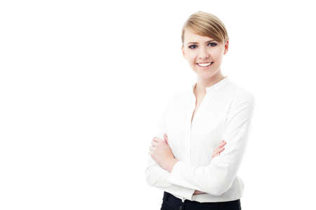 hair blond: Attractive business woman smiling isolated on white background