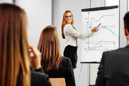 reunion de trabajo: Empresaria que da la presentación en el rotafolio. Reunión de negocios en la oficina Foto de archivo