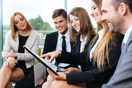 human relationships: Group of business people working during training Stock Photo