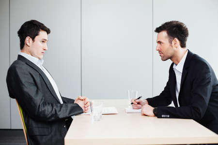 HR manager and an applicant in a job interview Stock Photo