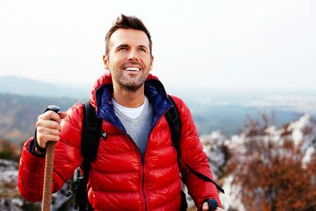Happy hiker looking into the distance Stock fotó